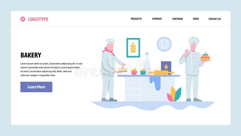 Vektorwebsitesteigungs-Entwurfsschablone Bäckereigeschäft und -chef, die Kuchen kochen Landungsseitenkonzepte für Website und vektor abbildung