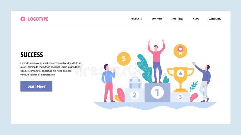 Vektorwebsitesteigungs-Entwurfsschablone Geschäftserfolg, Sieger auf der Spitzenposition mit Belohnung Landungs-Seite lizenzfreie abbildung