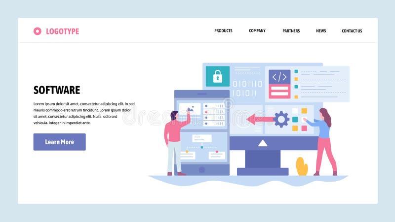Vektorwebsitesteigungs-Entwurfsschablone Softwareentwicklung und Anwendungskodierung Saftware-engenieer schreiben Computer lizenzfreie abbildung