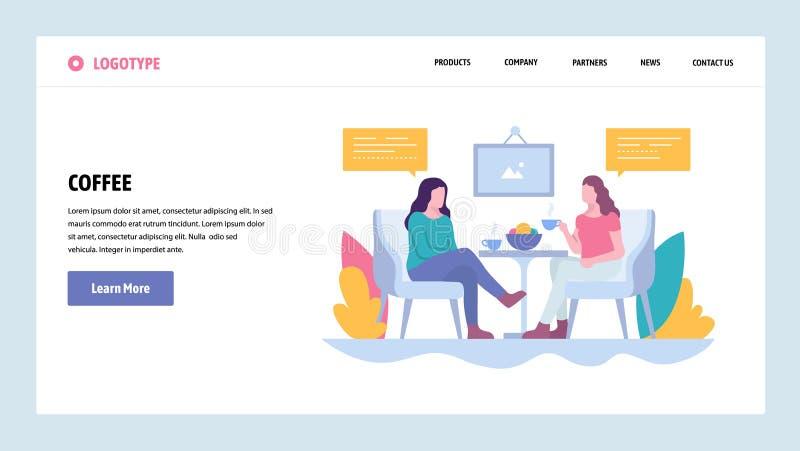 Vektorwebsitesteigungs-Entwurfsschablone Zwei Mädchen trinken Kaffee im Café, Mittagspause Landungsseitenkonzepte für Website stock abbildung