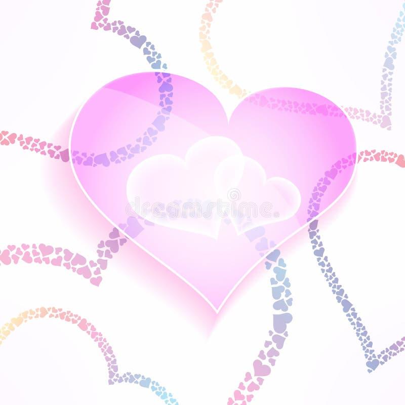 Vektorweddign och valentinbakgrund med glas- och stilfulla hjärtor Färgrik förälskelse- och omsorgdesignbeståndsdel stock illustrationer