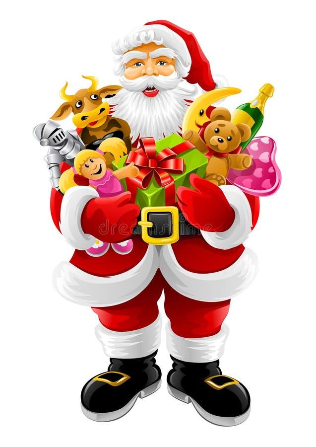Vektorweihnachten Weihnachtsmann mit Geschenken stock abbildung