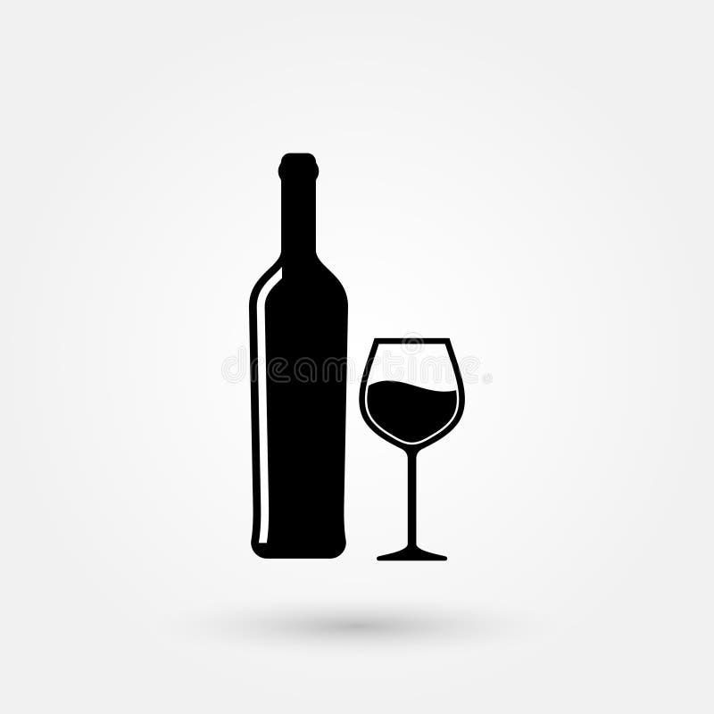 Vektorweinglas-Weinflaschenikone auf Lager vektor abbildung