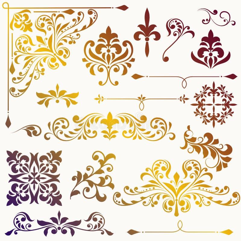Vektorweinlese-Blumenmusterelemente stock abbildung
