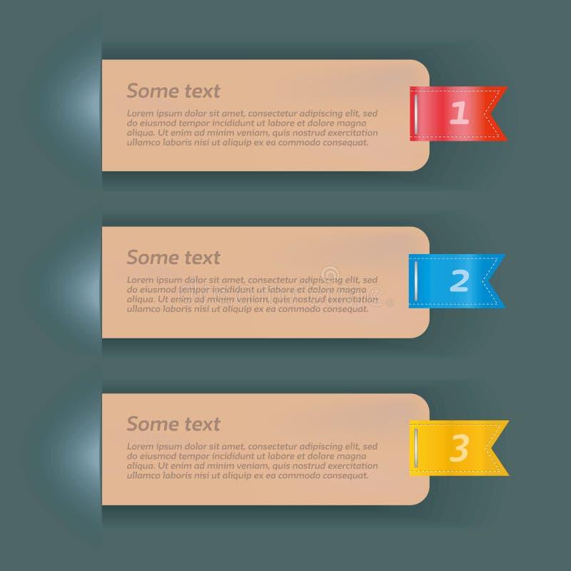 Vektorweinlese-Papierfahnen mit Bändern drei Optionen - Datei des Vektor lizenzfreie abbildung