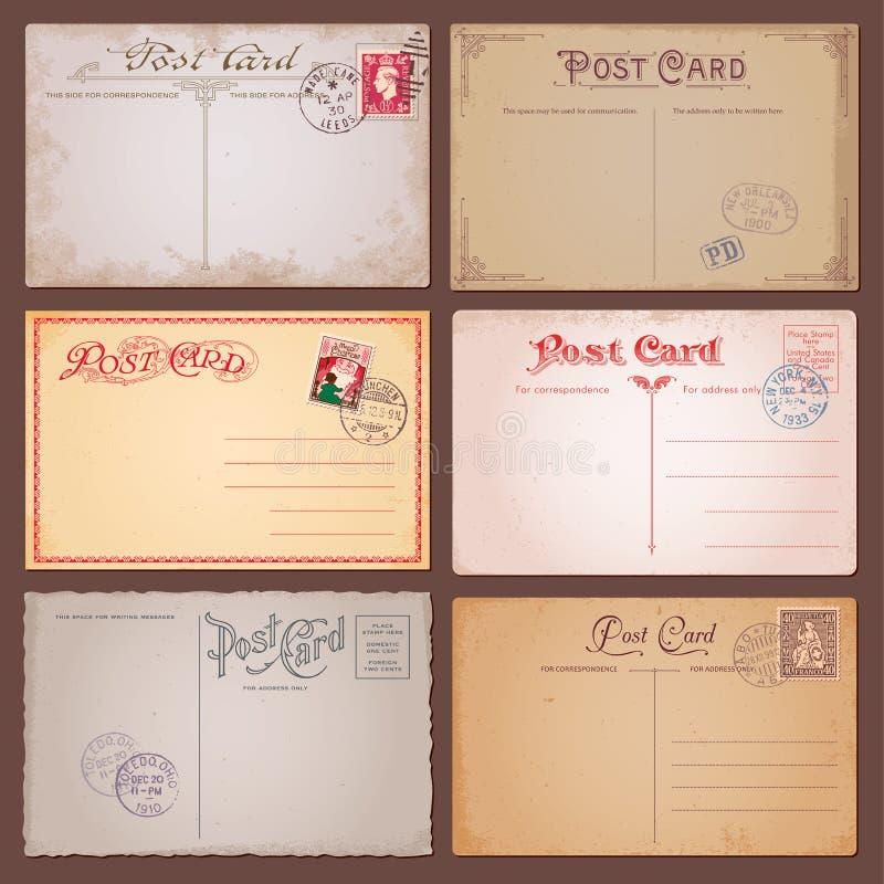 Vektorweinlese-Postkarten stock abbildung