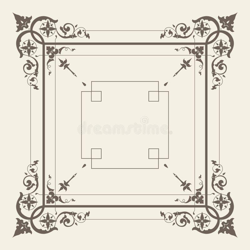 Vektorweinlese-Quadratrahmen stock abbildung