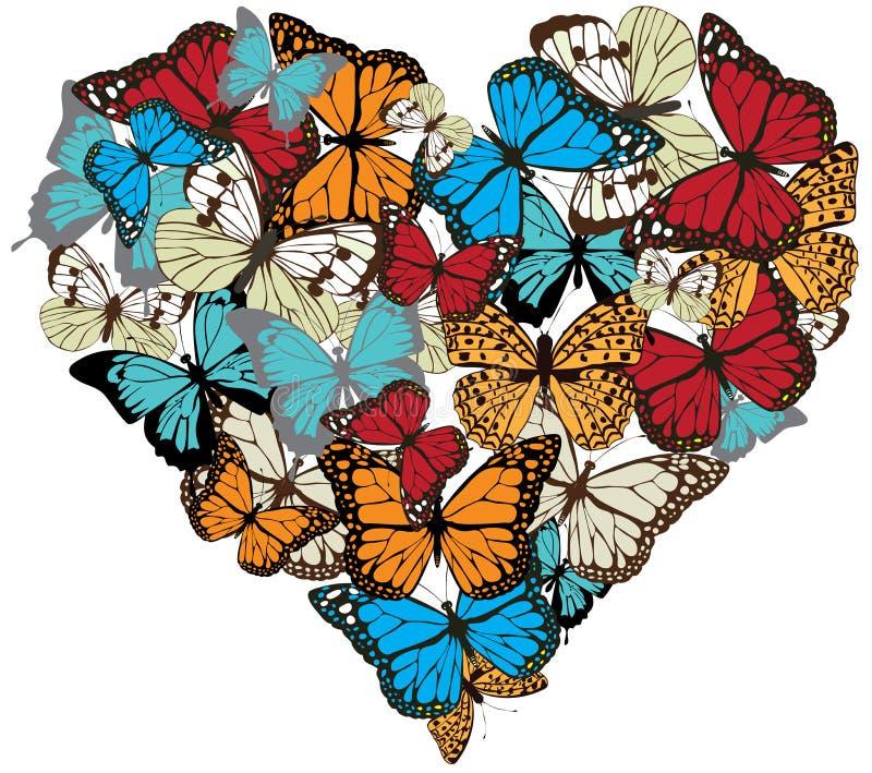 Vektorweinlese-Schmetterlingsherz lizenzfreie abbildung