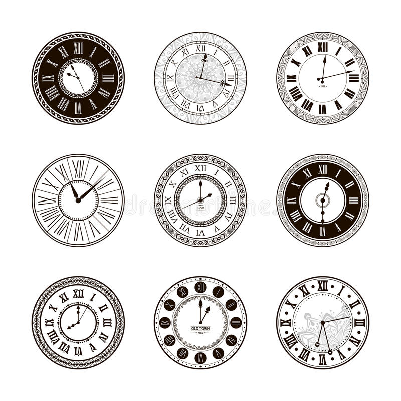 Vektorweinlese-Uhrskala eingestellt lizenzfreie abbildung
