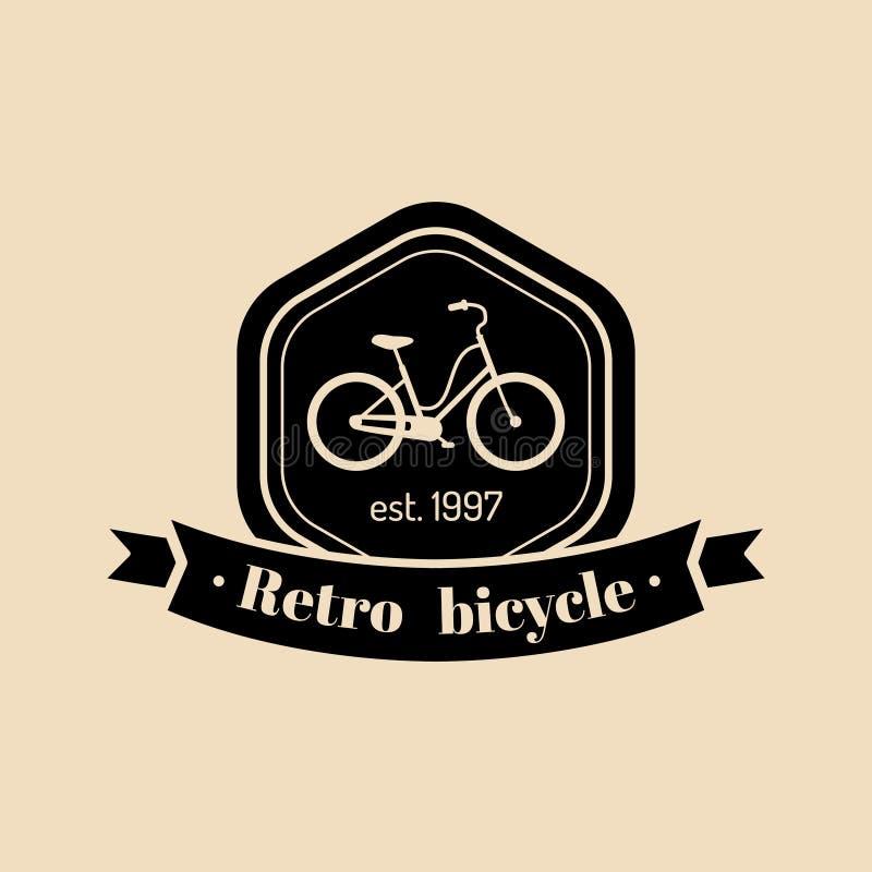 Vektorweinlesehippie-Fahrradlogo Modernes Velocipedeemblem für Kartenschablonen, Shop, Firmenwerbungsplakat usw. lizenzfreie abbildung