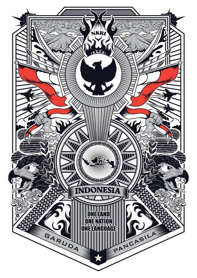 Vektorweinleserahmen auf Lager von garuda pancasila Indonesien-Illustration vektor abbildung
