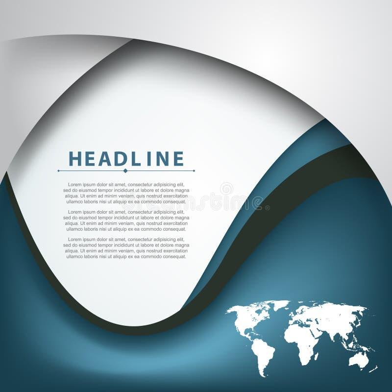 Vektorwelle verbog Linien Firmenkundengeschäfthintergrund des Weltkarteelementrahmens stock abbildung