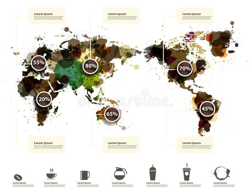 Vektorweltkarte der Kaffeetinte plätschern lizenzfreie abbildung
