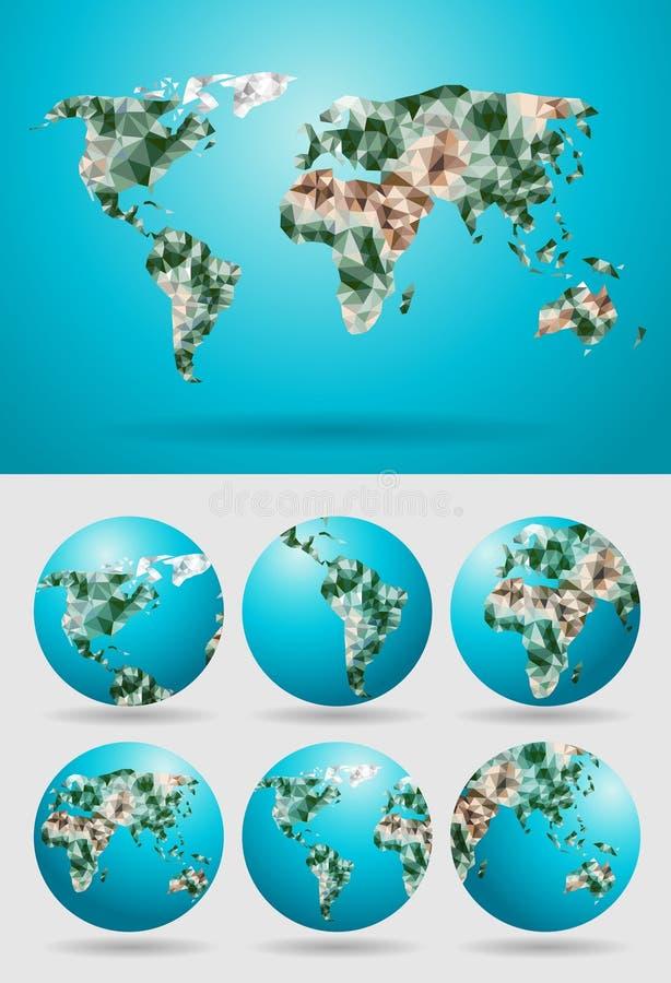 Vektorweltkarte polygonal lizenzfreie abbildung