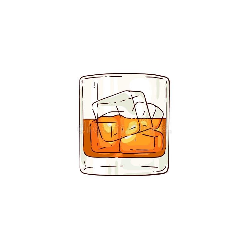 Vektorwhisky eller romexponeringsglas skissar symbolen royaltyfri illustrationer