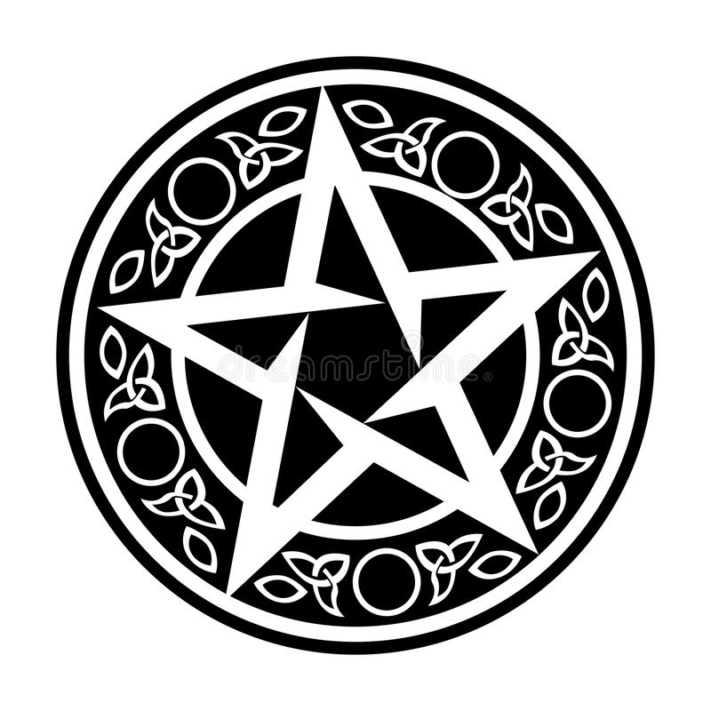 VektorWiccan amulett stock illustrationer