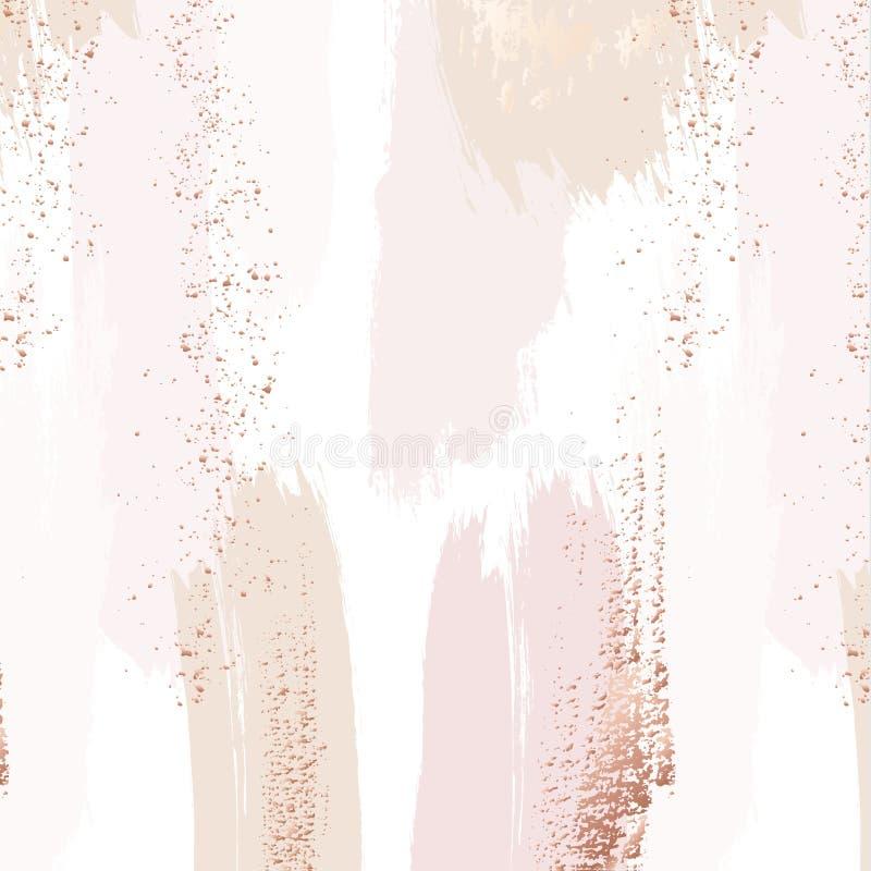 Vektorwiederholungsmuster in der zarten Beige, rosa Farben mit rosafarbenem Goldfunkeln Illustration Eps10 hochzeit vektor abbildung