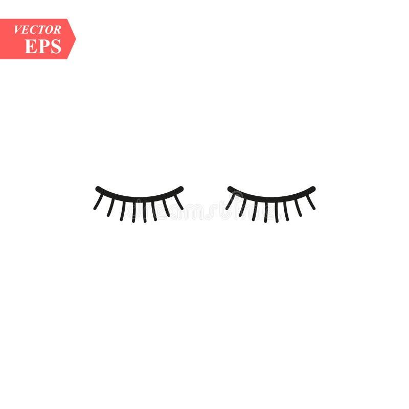 Vektorwimpern Geschlossene Augen Übersetzt Ikone Nettes Design stock abbildung