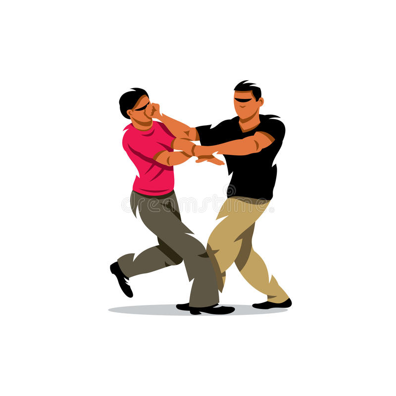VektorWing Chun kung fu som munhuggas tecknad filmillustrationen stock illustrationer