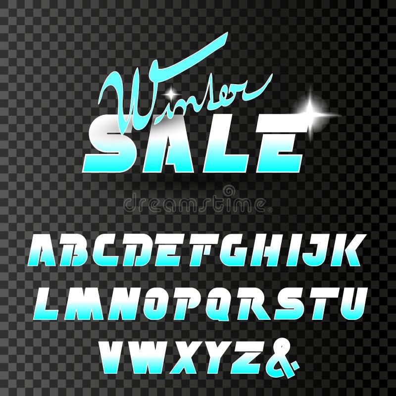 Vektorwinterguß, Alphabet Winterschlussverkauf, Sonderangebot mit Schimmer des Sternes auf transparentem Hintergrund stock abbildung