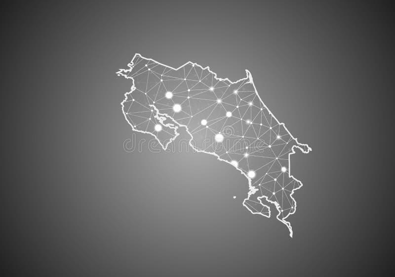 Vektorwireframe kopplar ihop polygonal av den Costa Rica översikten Abstrakt global anslutningsstruktur ?versikt f?rbindelse med  stock illustrationer