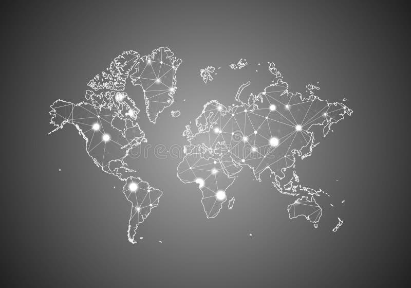 Vektorwireframe kopplar ihop polygonal av världskartan Abstrakt global anslutningsstruktur ?versikt f?rbindelse med linjer och pr royaltyfri illustrationer