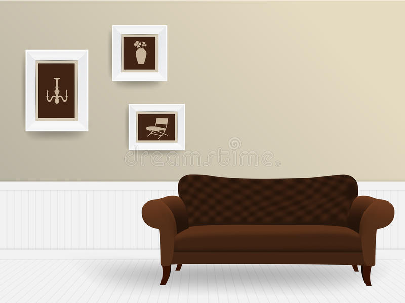 Vektorwohnzimmer-Innenraumkonzept stock abbildung
