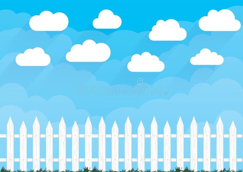 Vektorwolken und -zaun Karikaturbauernhof-Landschaftsillustration des blauen Himmels der Natur vektor abbildung