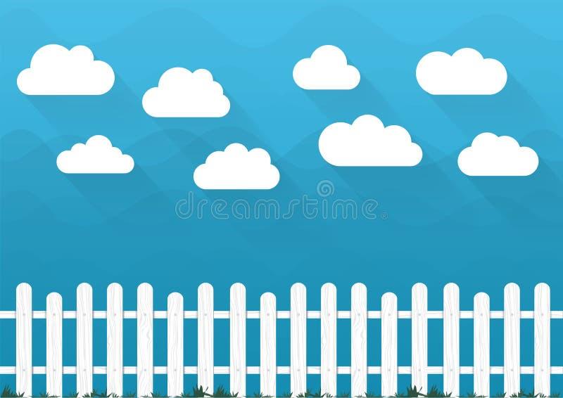 Vektorwolken und -zaun Karikaturbauernhof-Landschaftsillustration des blauen Himmels der Natur stock abbildung
