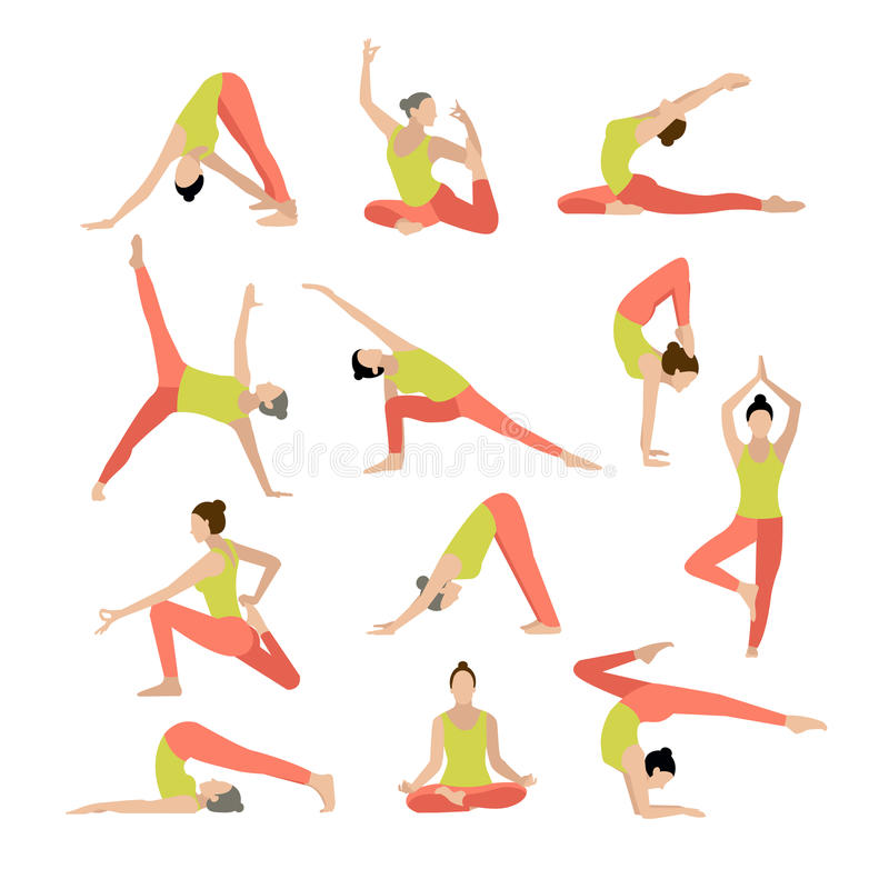 Vektoryogaillustration Yogauppsättning Kvinnayoga royaltyfria foton