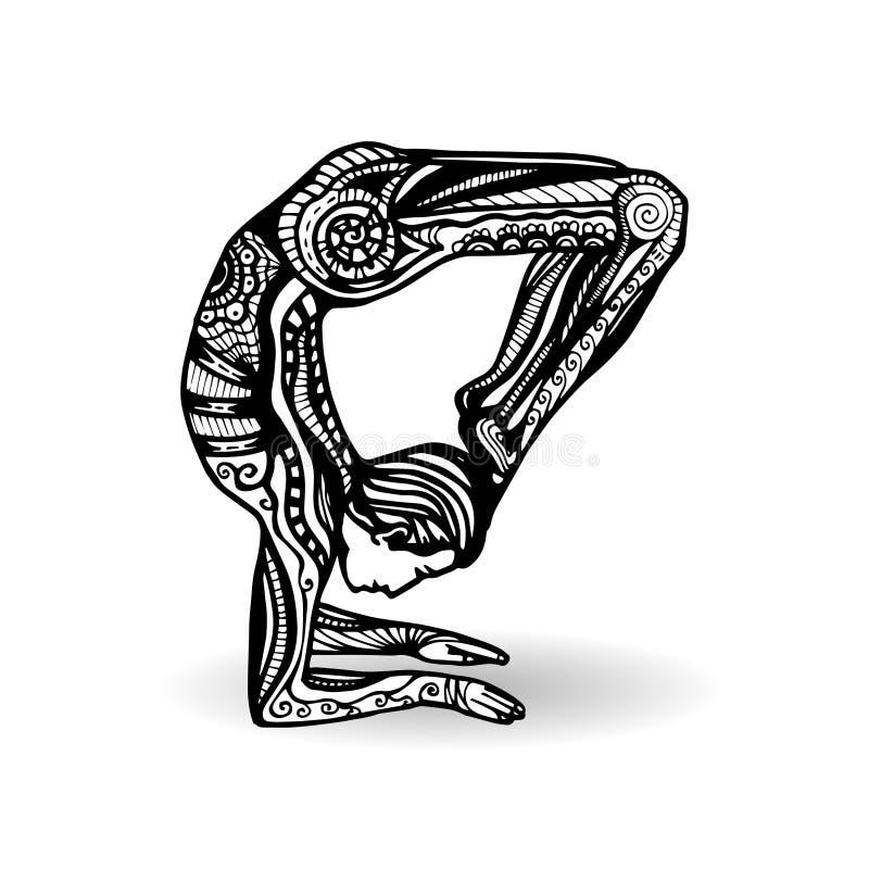 Vektoryogaillustration in zentangle Art Mann in der Yoga-Haltung lizenzfreie abbildung