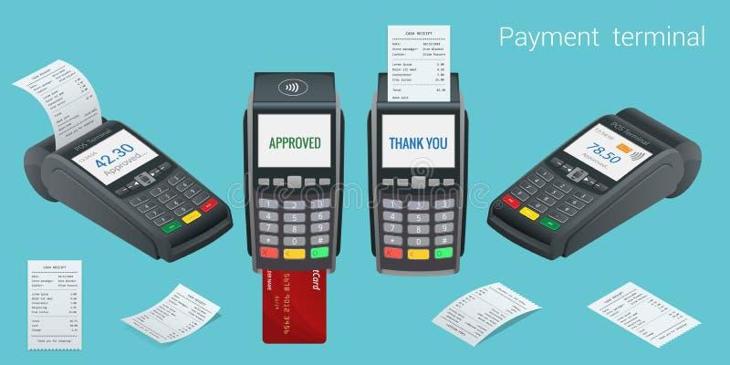 Vektorzahlungsmaschine und -Kreditkarte Positions-Anschluss bestätigt die Zahlung durch Debetkreditkarte, invoce Vektor lizenzfreie abbildung