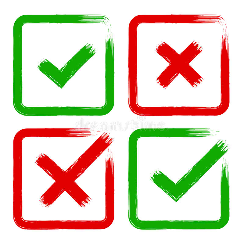 Vektorzeckenkreuzschmutz-Bürstenanschlag stellte für kein ja O.K.X ein lizenzfreie abbildung