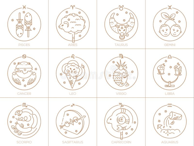 Vektorzeichen des Tierkreises in den Kreisen der goldenen Farbe auf einem weißen Hintergrund, einem Logo, einer Tätowierung oder  stock abbildung