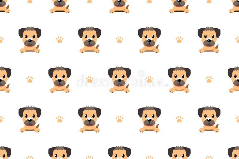 Vektorzeichentrickfilm-figur-Border Terrier-Hundenahtloses Muster lizenzfreie abbildung