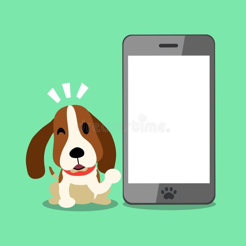 Vektorzeichentrickfilm-figur Jagdhund und Smartphone stock abbildung