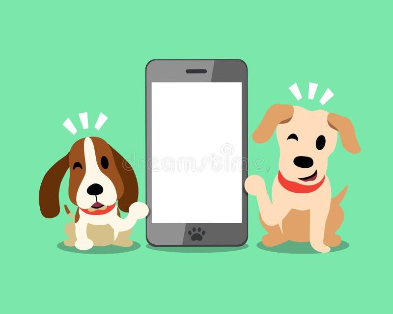 Vektorzeichentrickfilm-figur Labrador und Jagdhund mit Smartphone lizenzfreie abbildung
