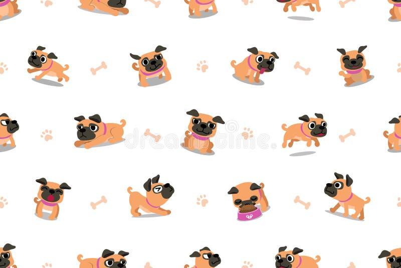Vektorzeichentrickfilm-figur Pug-Hundenahtloses Muster lizenzfreie abbildung