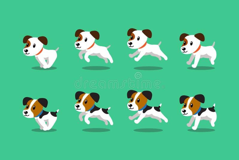 Vektorzeichentrickfilm-figur-Steckfassungsrussell-Terrierhundefahrstufe lizenzfreie abbildung