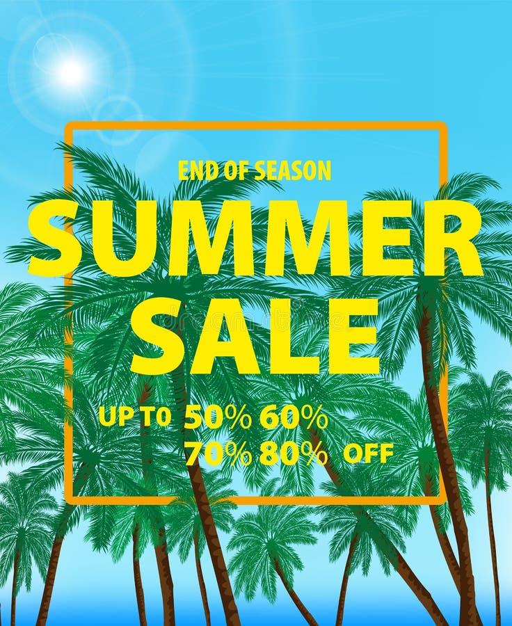 Vektorzeichnung, Bild des hellen Werbungsplakats auf einem tropischen farbigen Hintergrund lizenzfreie abbildung
