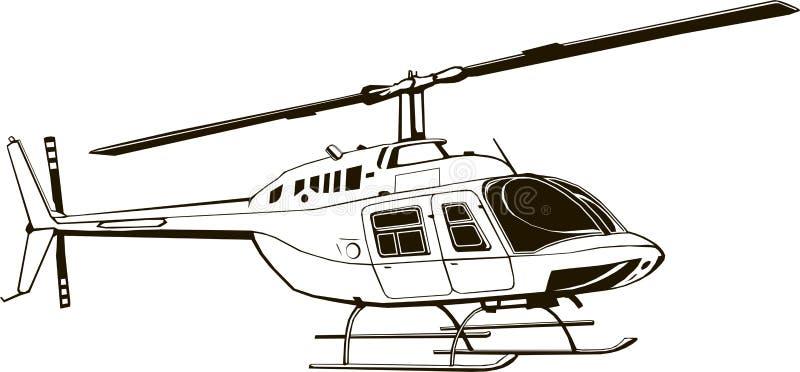 Vektorzeichnung des Zivilhubschraubers, grafische Illustration, Handzeichnung, lokalisiert, Clipart, Monogramm stock abbildung