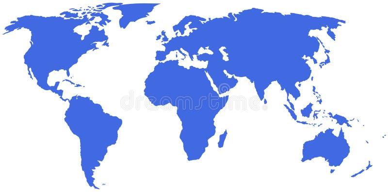 Vektorzeichnung einer Weltkarte auf einem weißen Hintergrund stock abbildung