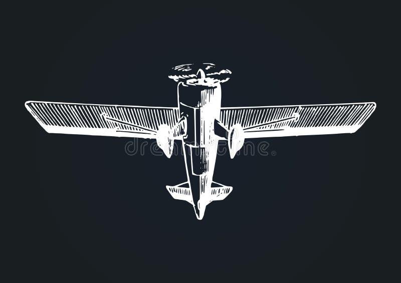 Vektorzeichnung von Fliegenflugzeugen Retro- flaches Plakat der Weinlese, Karte Handskizzen-Luftfahrtillustration in der Stichart stock abbildung