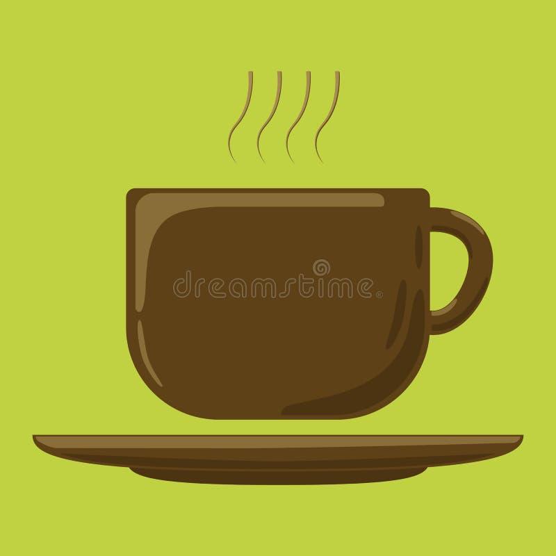 Vektorzeichnungsentwurf der Kaffeetasse moderner flach lizenzfreie abbildung