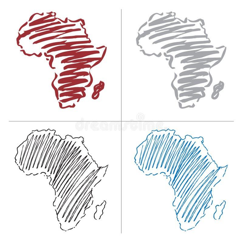 Vektorzeichnungskarte von Afrika stock abbildung