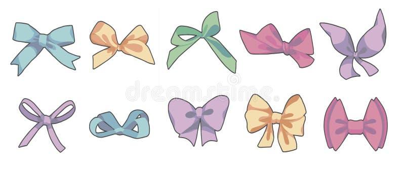 Vektorzeichnungssammlung unterschiedliche geformte bunte Karikaturart-Geschenkverpackung oder Modebänder und -bögen vektor abbildung