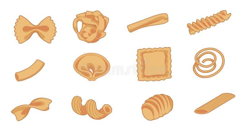 Vektorzeichnungssatz verschiedene Arten von traditionellen italienischen Teigwaren wie fusilli, Tortellini, macaron oder Spaghett lizenzfreie abbildung