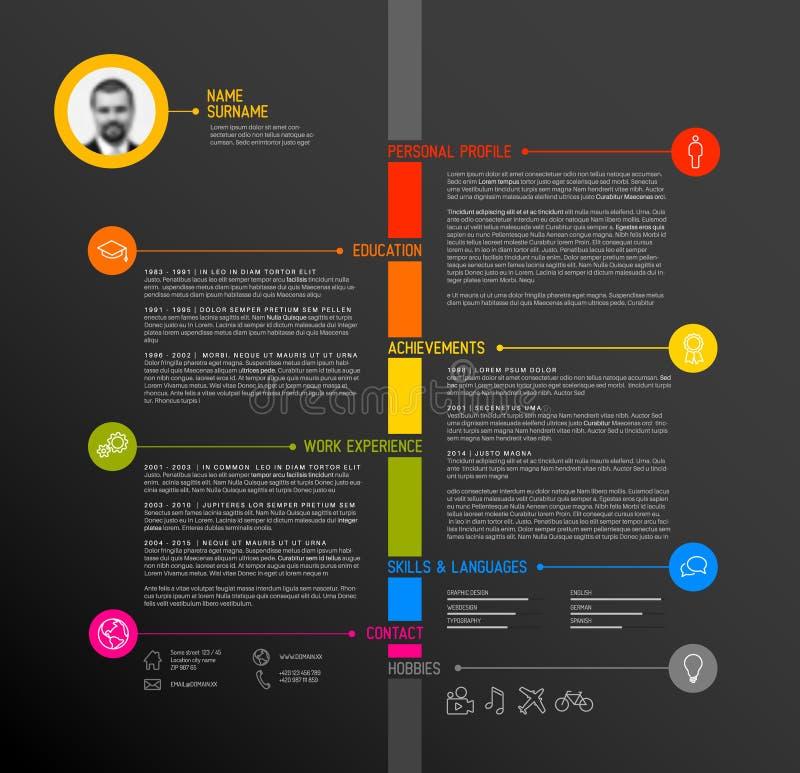 Vektorzeitachse-Minimalistlebenslauf/Zusammenfassungsschablone stock abbildung