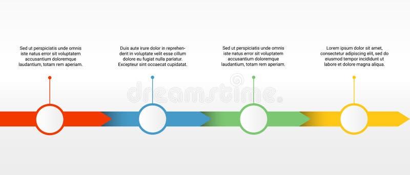 Vektorzeitachseschablone mit vier bunten Teilen mit leeren Kreisknöpfen für Ikonen oder Zahlen und Text stock abbildung