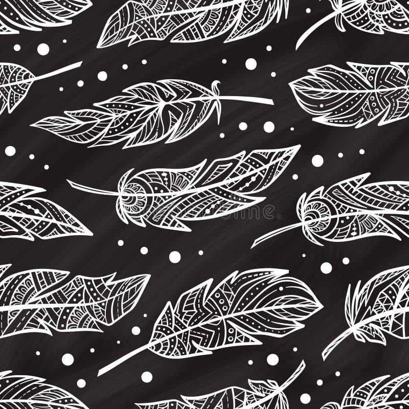 Vektorzendoodle befjädrar den sömlösa modellen på en chalkbordbakgrund stock illustrationer